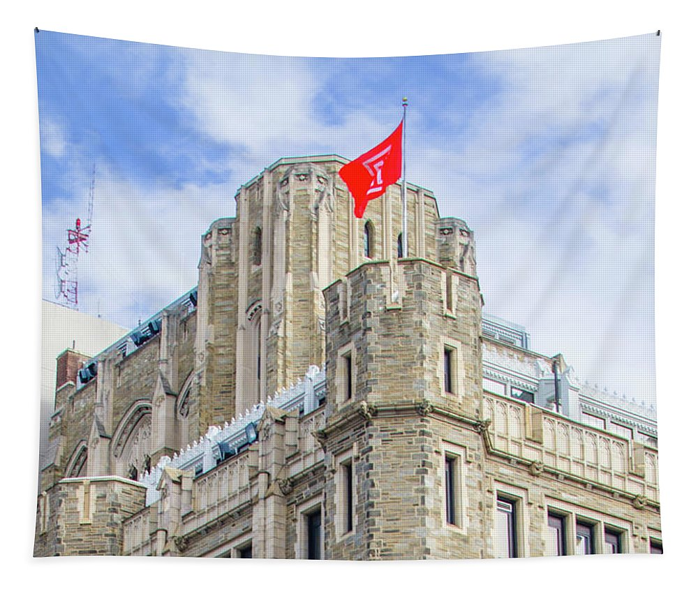 Philadelphia Tapestry featuring the photograph Philadelphia Temple University by Bill Cannon