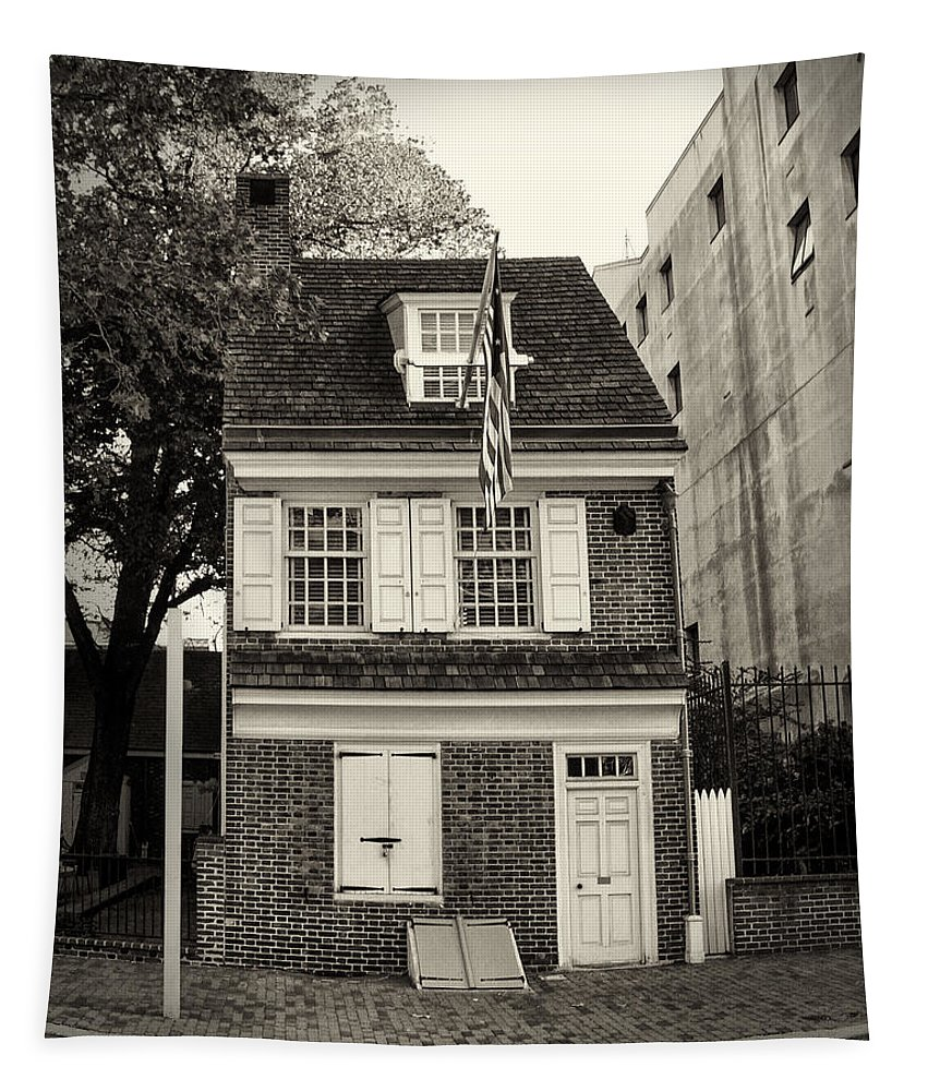 Philadelphia Tapestry featuring the photograph Philadelphia - The Betsy Ross House by Bill Cannon