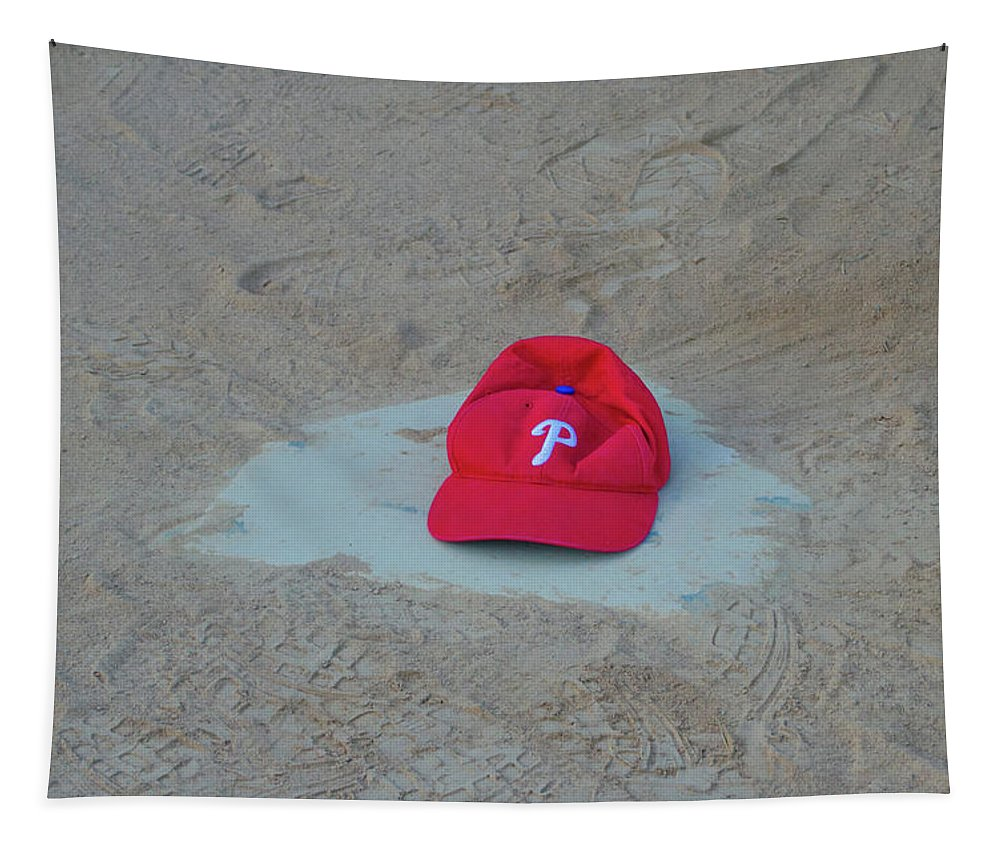 Phillies Tapestry featuring the photograph Phillies Hat On Home Plate by Bill Cannon