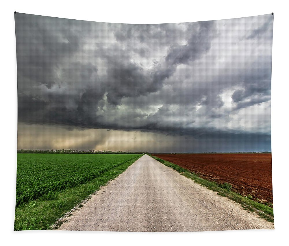 Oklahoma Tapestry featuring the photograph Pick A Side - Colorful Fields Divided By Road On Stormy Day In Oklahoma. by Southern Plains Photography