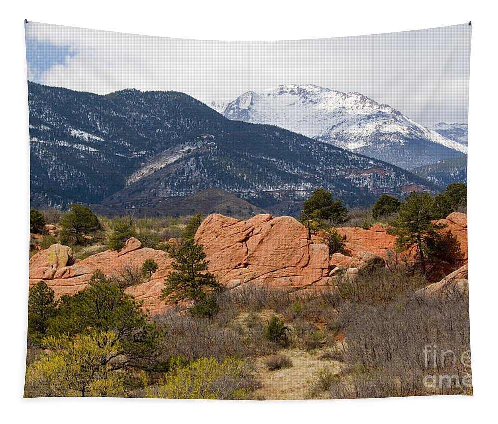14000 Foot Peak Tapestry featuring the photograph Pikes Peak From Red Rocks Canyon by Steve Krull