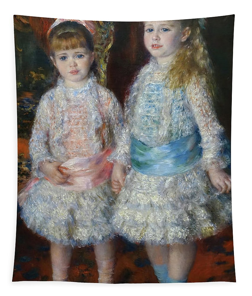 Pink And Blue Tapestry featuring the painting Pink And Blue by Pierre-Auguste Renoir