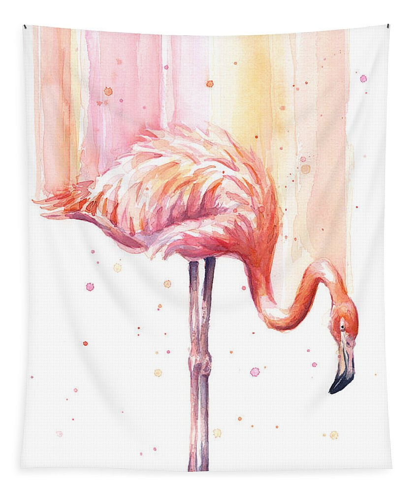 Pink Tapestry featuring the painting Pink Flamingo - Facing Right by Olga Shvartsur