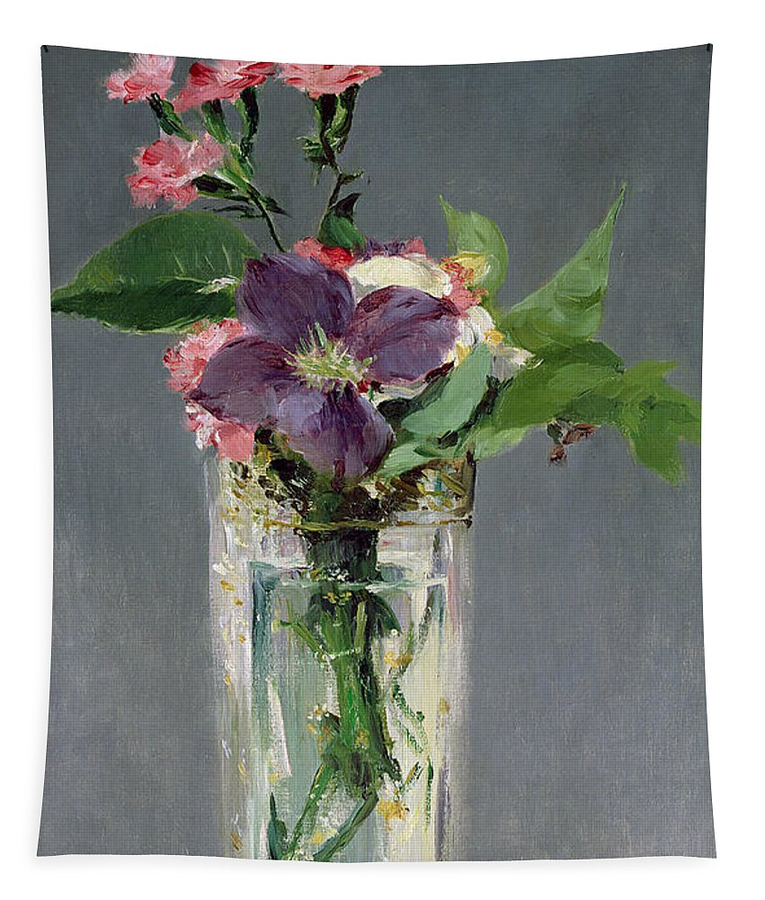 Manet Tapestry featuring the painting Pinks And Clematis In A Crystal Vase by Edouard Manet
