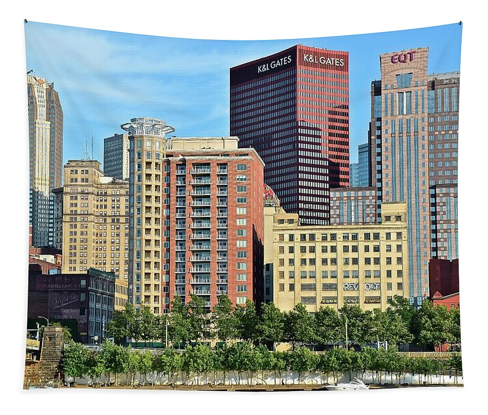 Pittsburgh Tapestry featuring the photograph Pittsburgh Building Cluster by Frozen in Time Fine Art Photography