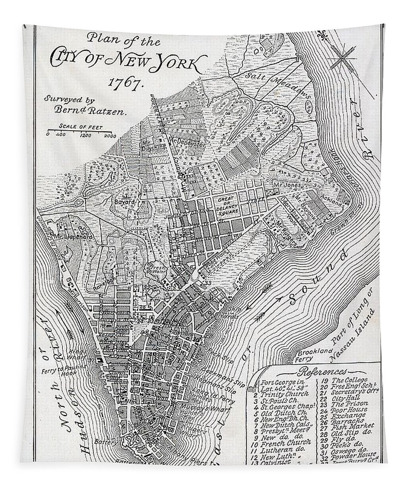 Mapping; Cartography; Territory; Manhattan; Map; Nyc; Usa; United States ; America; American; Metropolis Tapestry featuring the painting Plan of the City of New York by American School