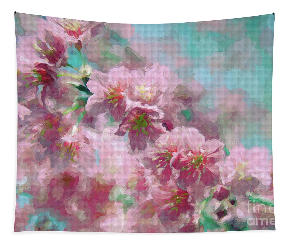 Pink Tapestry featuring the mixed media Plum Blossom - Bring On Spring Series by Andrea Anderegg