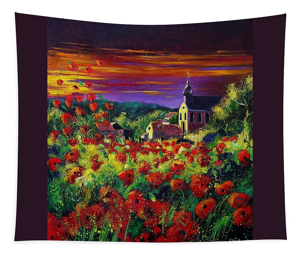 Flowers Tapestry featuring the painting Poppies In Foy by Pol Ledent