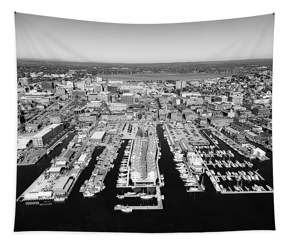 Portland Tapestry featuring the photograph Portland Harbor by Library Of Congress