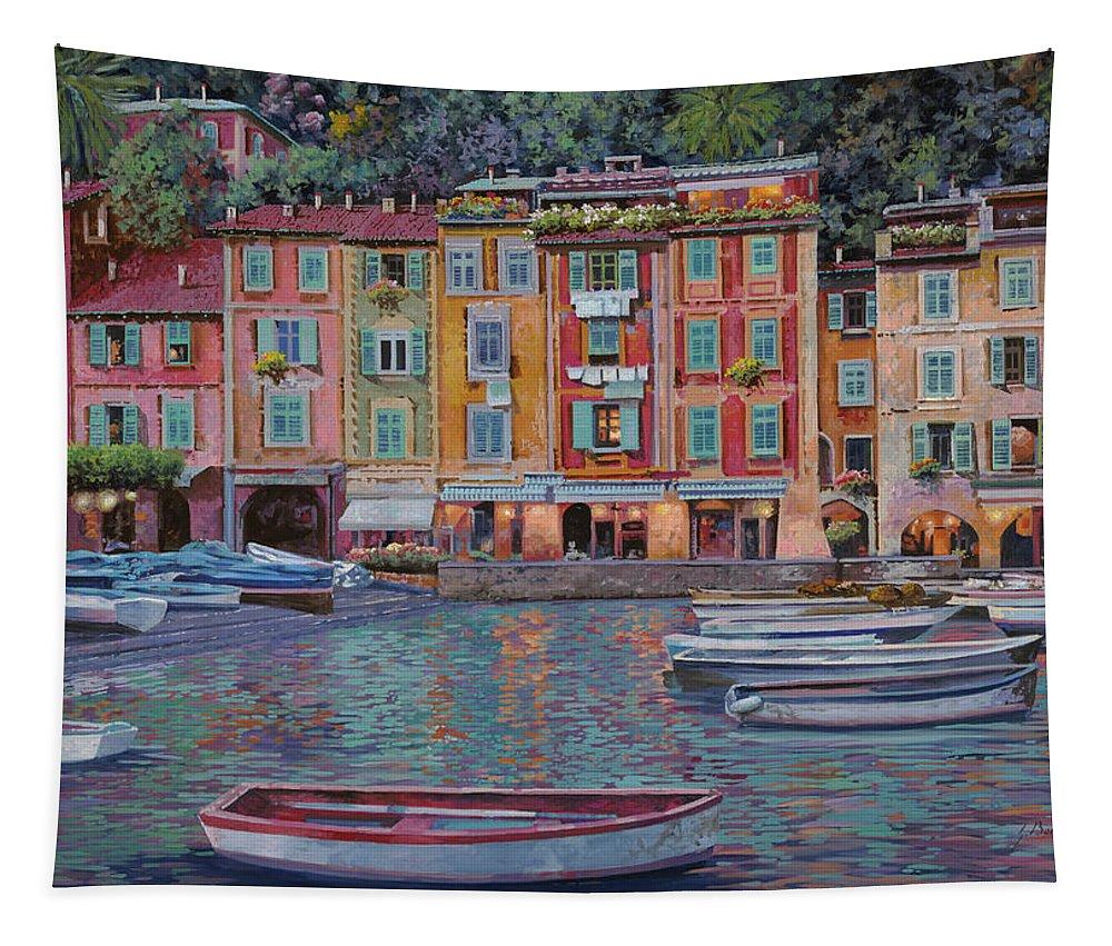 Portofino Tapestry featuring the painting Portofino Al Crepuscolo by Guido Borelli