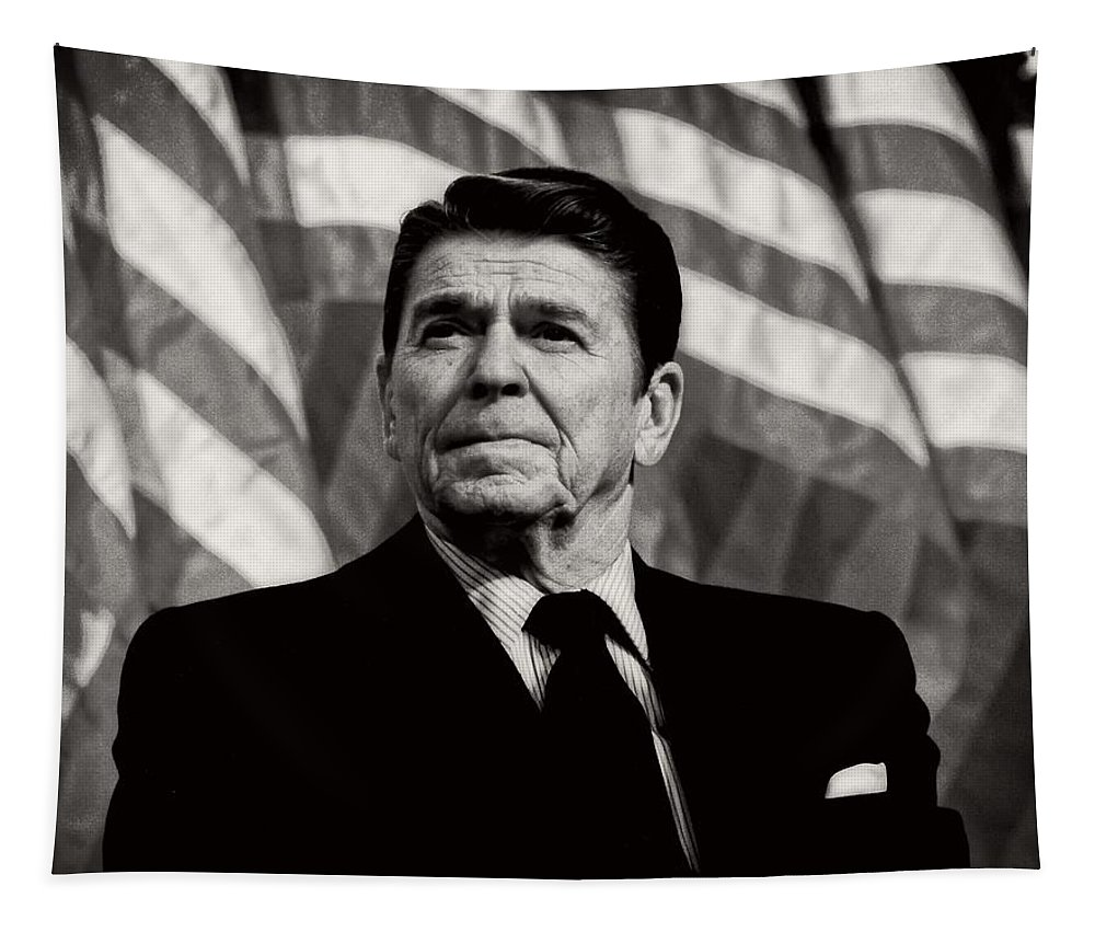 President Ronald Reagan Tapestry featuring the photograph President Ronald Reagan Speaking - 1982 by Mountain Dreams