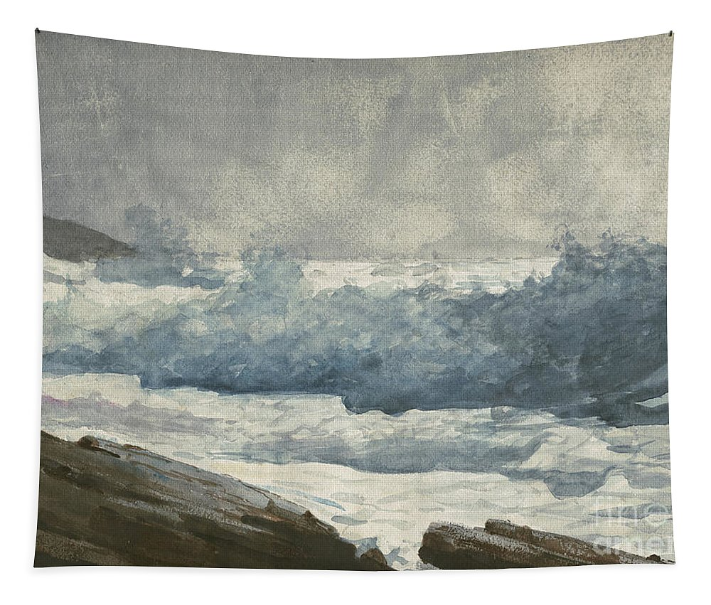 Winslow Homer Tapestry featuring the painting Prouts Neck, Breakers by Winslow Homer