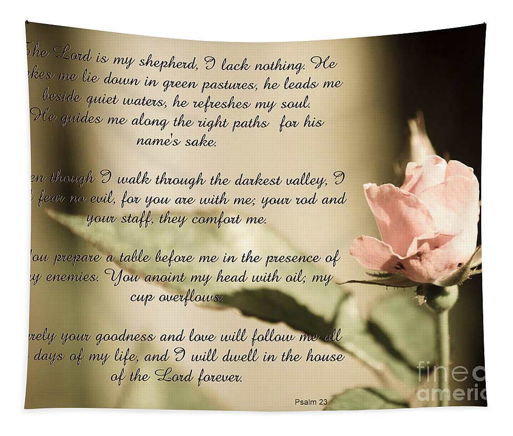 Psalm Tapestry featuring the photograph Psalm 23 by Andrea Anderegg