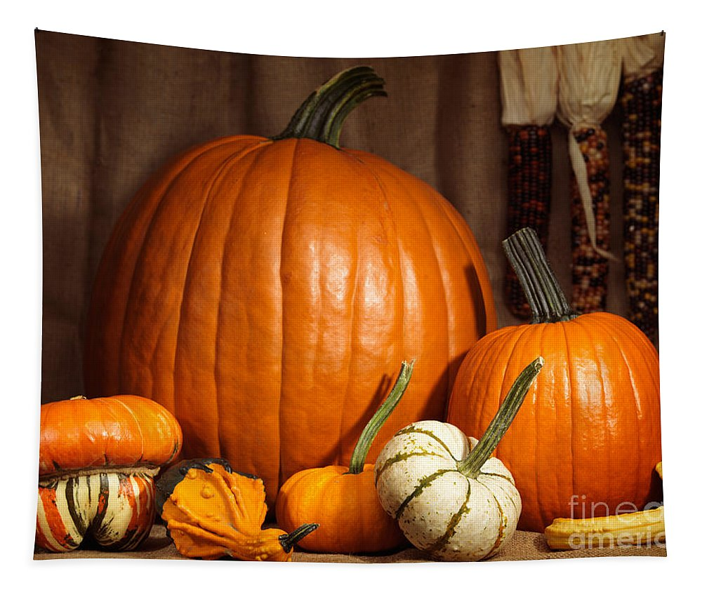 Pumpkins Tapestry featuring the photograph Pumpkins And Gourds Still Life by Oleksiy Maksymenko