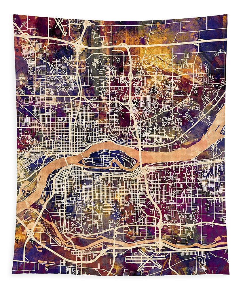Street Map Tapestry featuring the digital art Quad Cities Street Map by Michael Tompsett