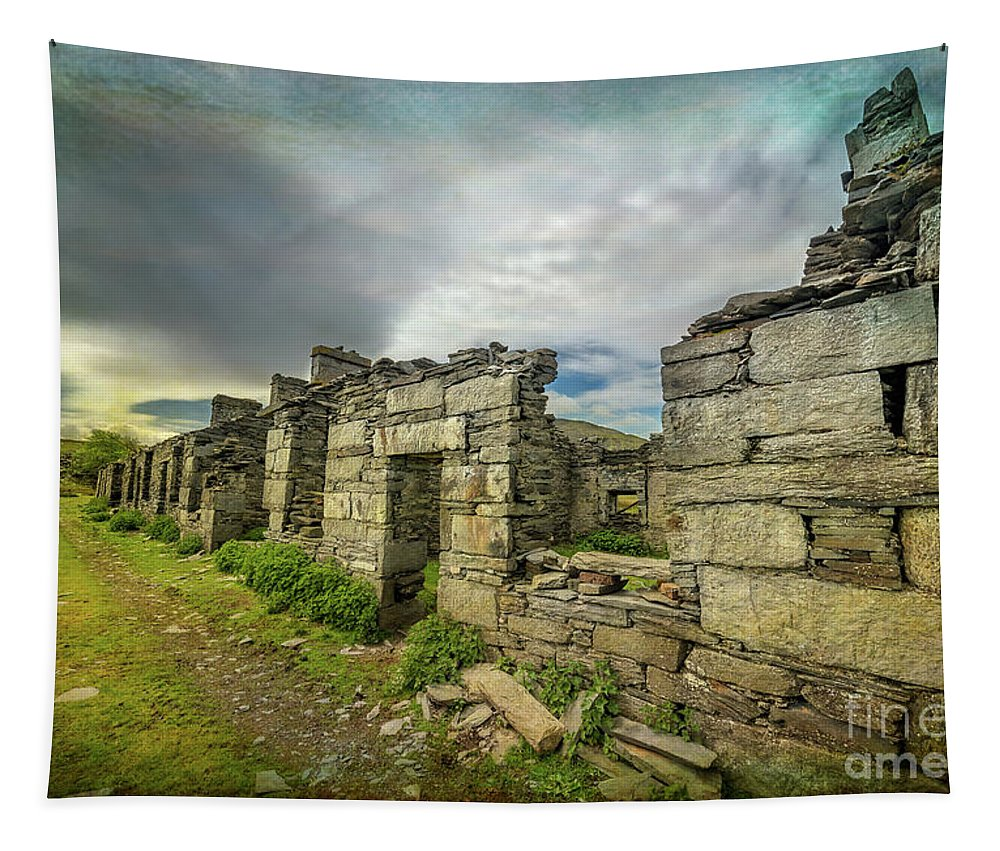 Ruin Tapestry featuring the photograph Quarry Cottages by Adrian Evans
