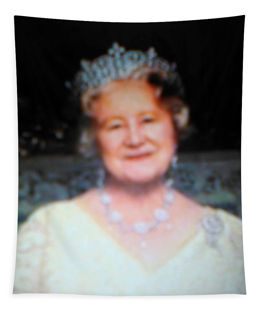 Tapestry featuring the mixed media Queen Mum by Elinor Helen Rakowski