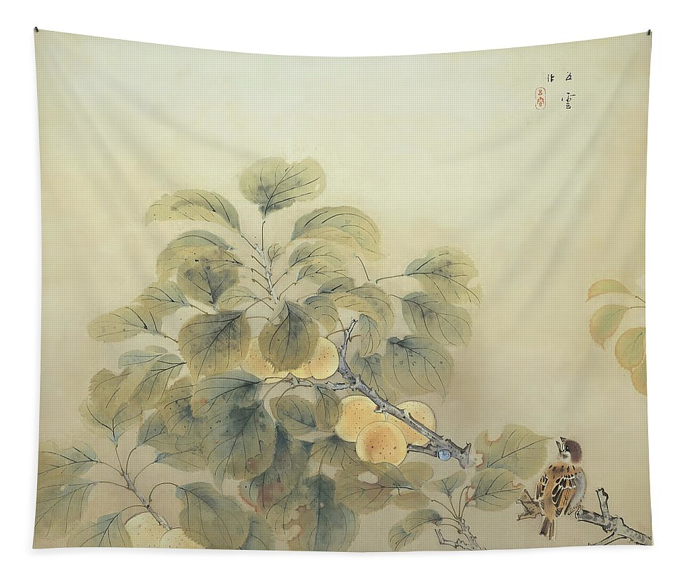 Painting Tapestry featuring the painting Rainy Season by Nishimura Goun