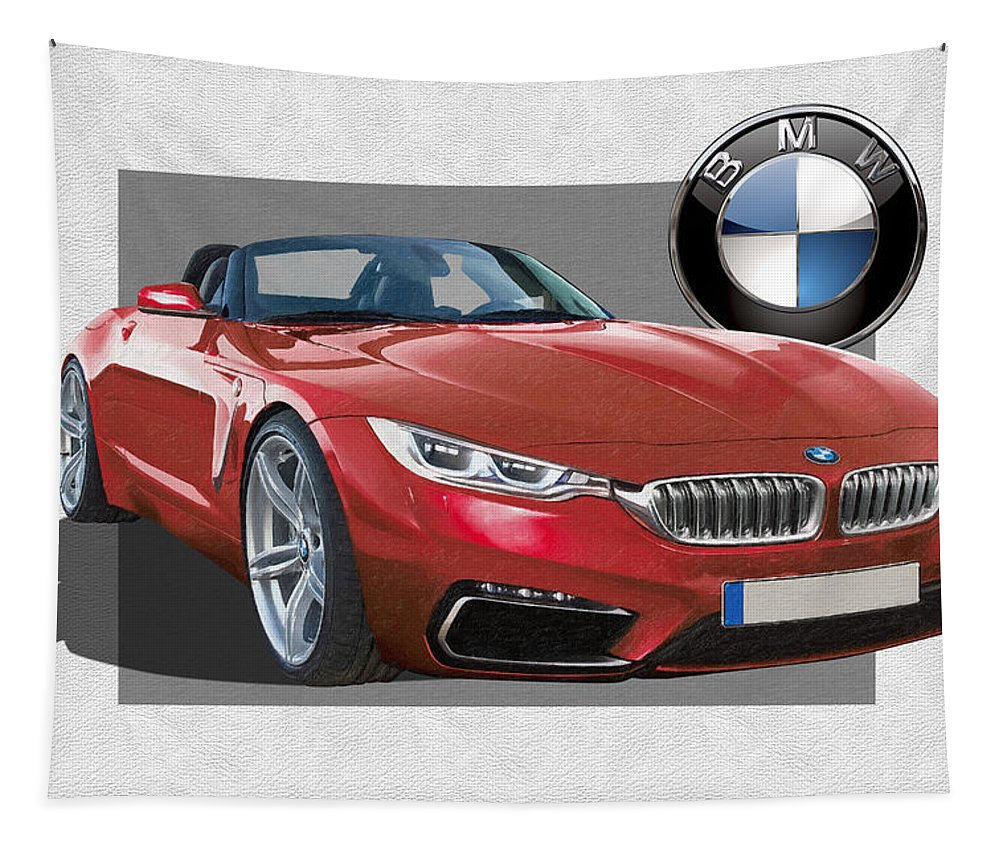 �bmw� Collection By Serge Averbukh Tapestry featuring the photograph Red 2018 B M W Z 5 with 3 D Badge by Serge Averbukh