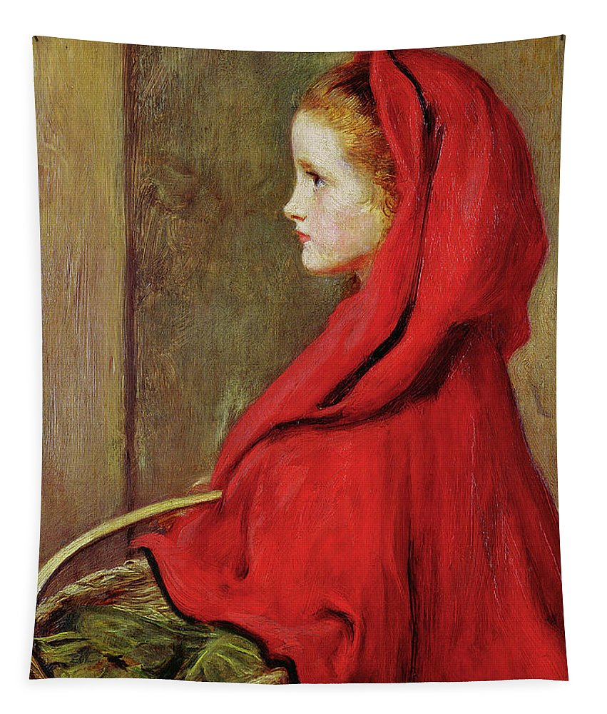 Millais Tapestry featuring the painting Red Riding Hood by John Everett Millais