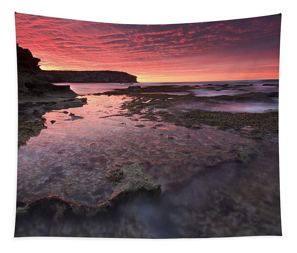 Sunrise Tapestry featuring the photograph Red Sky At Morning by Mike Dawson