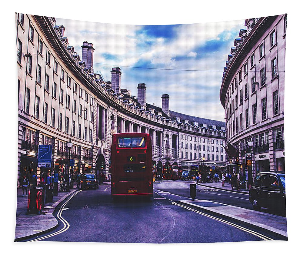 London Tapestry featuring the photograph Regent Street In London by Pixabay