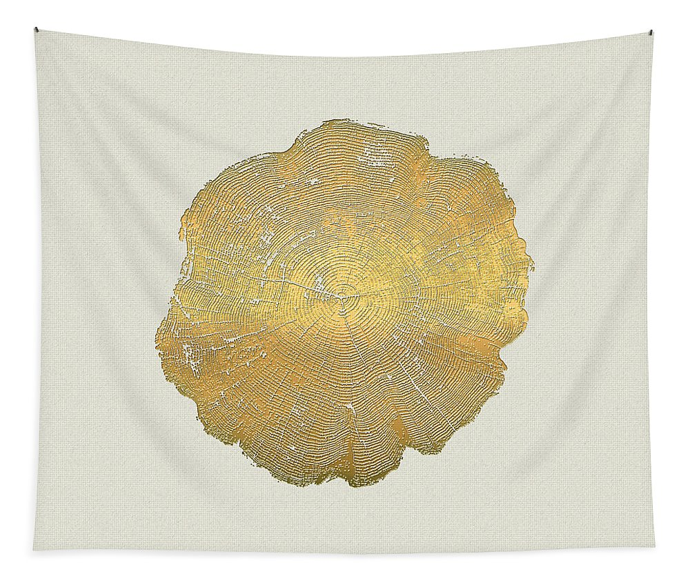 Inconsequential Beauty By Serge Averbukh Tapestry featuring the photograph Rings of a Tree Trunk Cross-section in Gold on Linen by Serge Averbukh