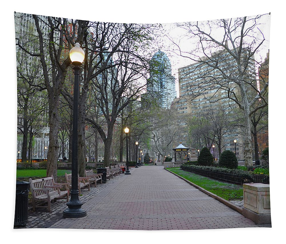 Rittenhouse Tapestry featuring the photograph Rittenhouse Square In The Morning by Bill Cannon