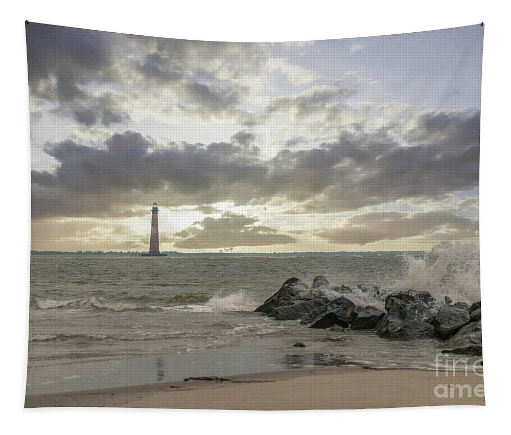 Morris Island Lighthouse Tapestry featuring the photograph Rocking The Atlantic by Dale Powell