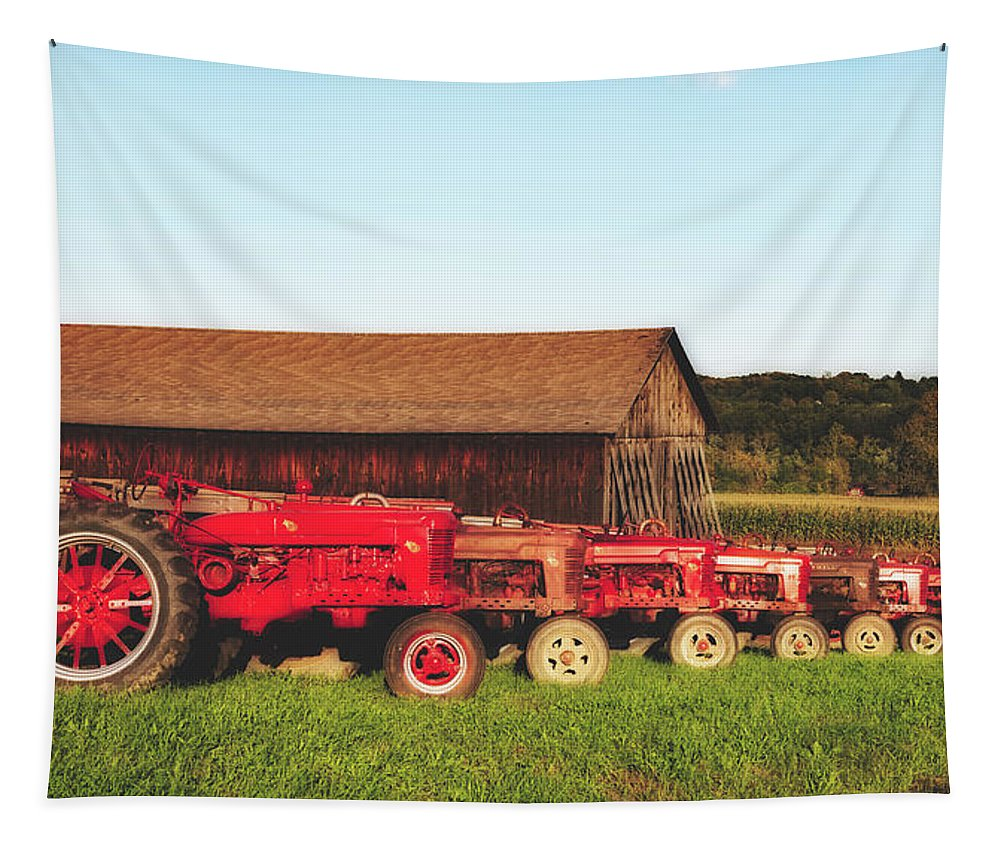Farmall Tapestry featuring the photograph Row Of Antique Farmalls by Library Of Congress