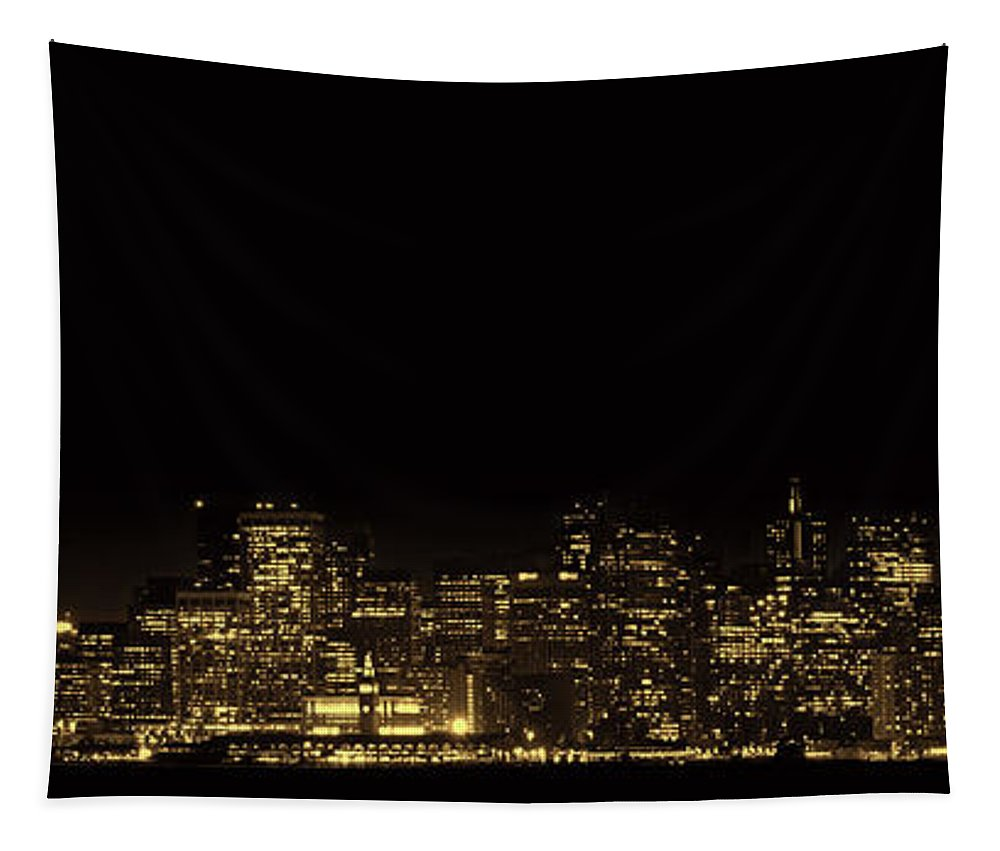 San Francisco Tapestry featuring the photograph San Francisco Nighttime Skyline by Mountain Dreams
