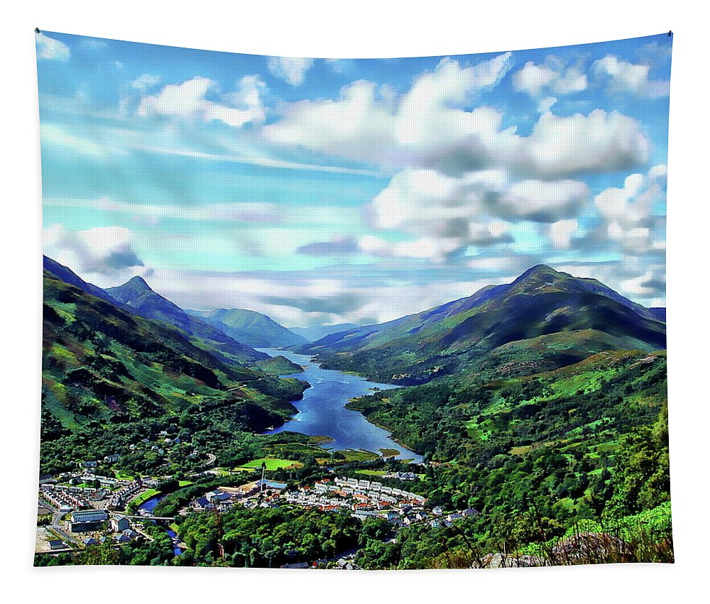 Town Tapestry featuring the photograph Scottish Landscape by Anthony Dezenzio