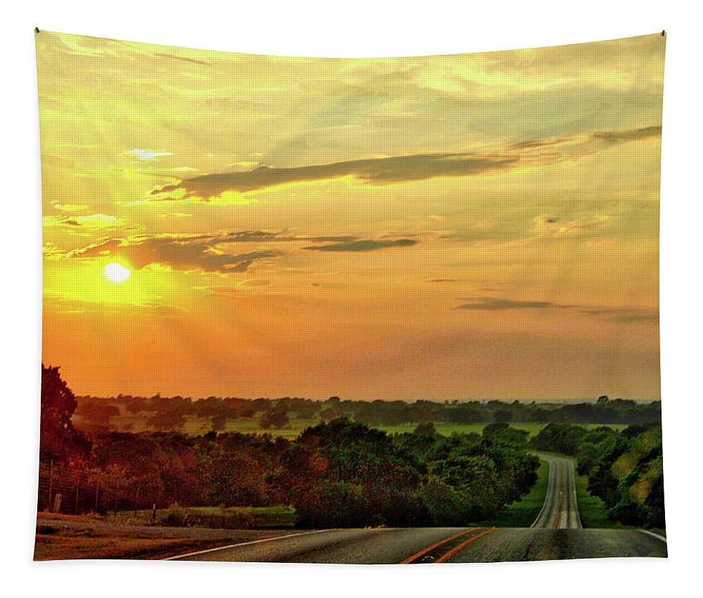 Sunset Tapestry featuring the photograph Setting Sun by Linda James
