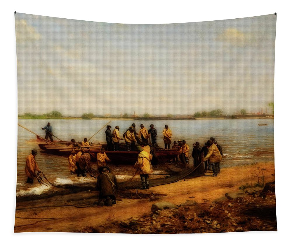 Painting Tapestry featuring the painting Shad Fishing On The Delaware River by Thomas Eakins
