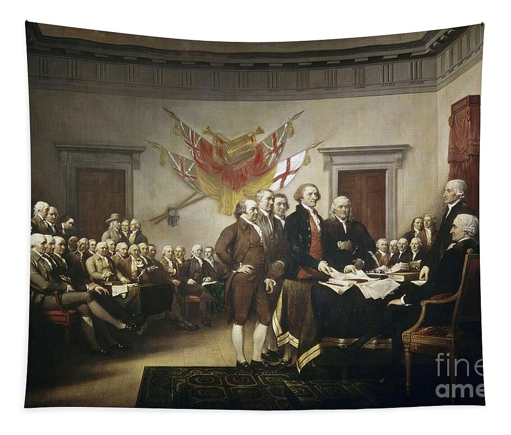 Signing Tapestry featuring the painting Signing The Declaration Of Independence by John Trumbull