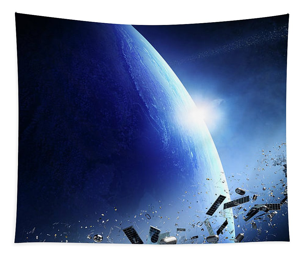 Earth Tapestry featuring the photograph Space Junk Orbiting Earth by Johan Swanepoel