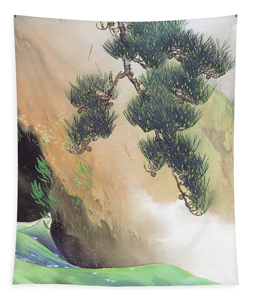 Painting Tapestry featuring the painting Spring Of Mountain by Yamamoto Shunkyo