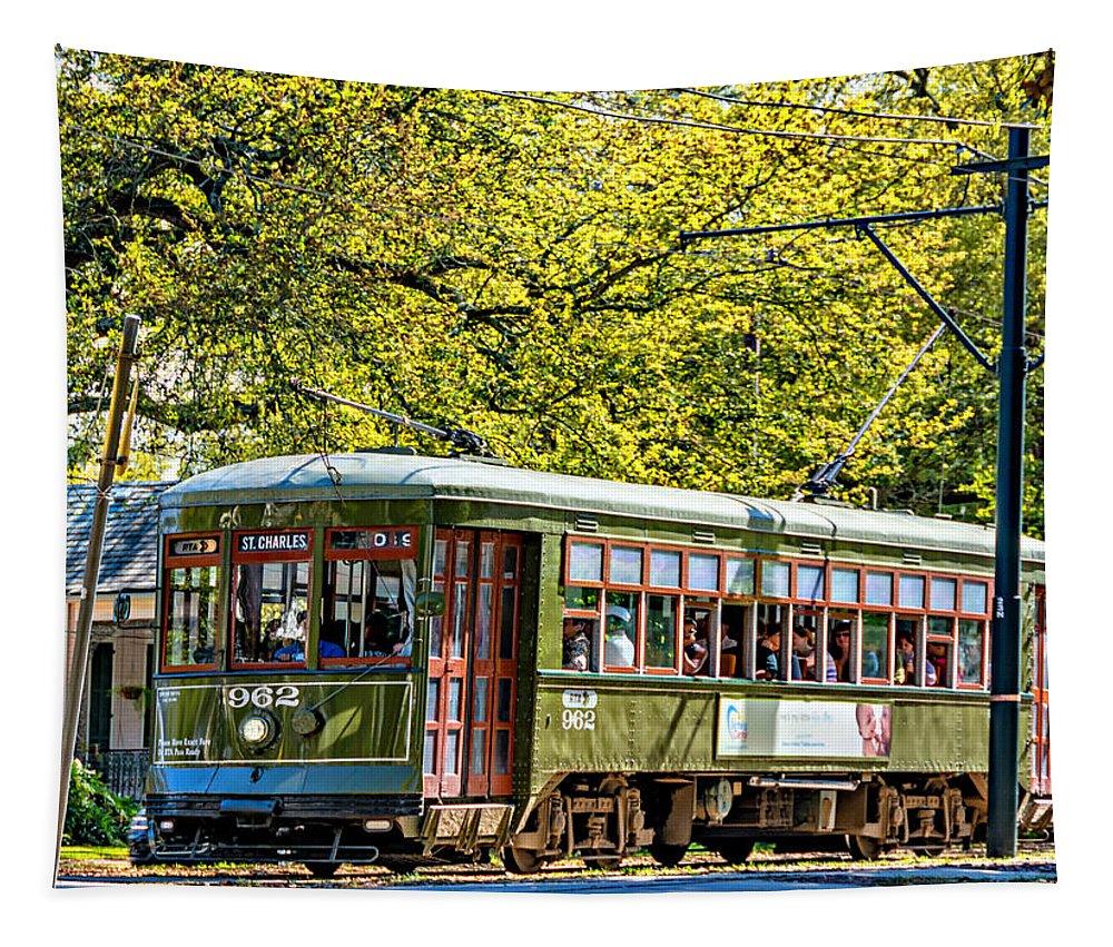 Steve Harrington Tapestry featuring the photograph St. Charles Ave. Streetcar 2 by Steve Harrington