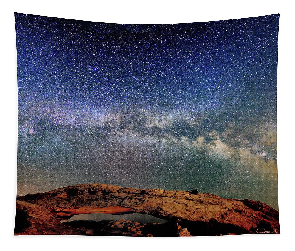Starry Night Tapestry featuring the photograph Starry Night Over Mesa Arch by OLena Art Brand