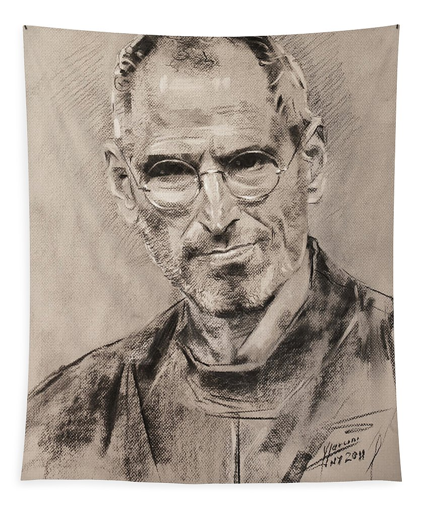 Steve Jobs Tapestry featuring the drawing Steve Jobs by Ylli Haruni