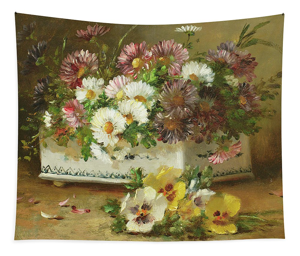 Pansy Tapestry featuring the painting Still Life Of Flowers by Eugene Henri Cauchois