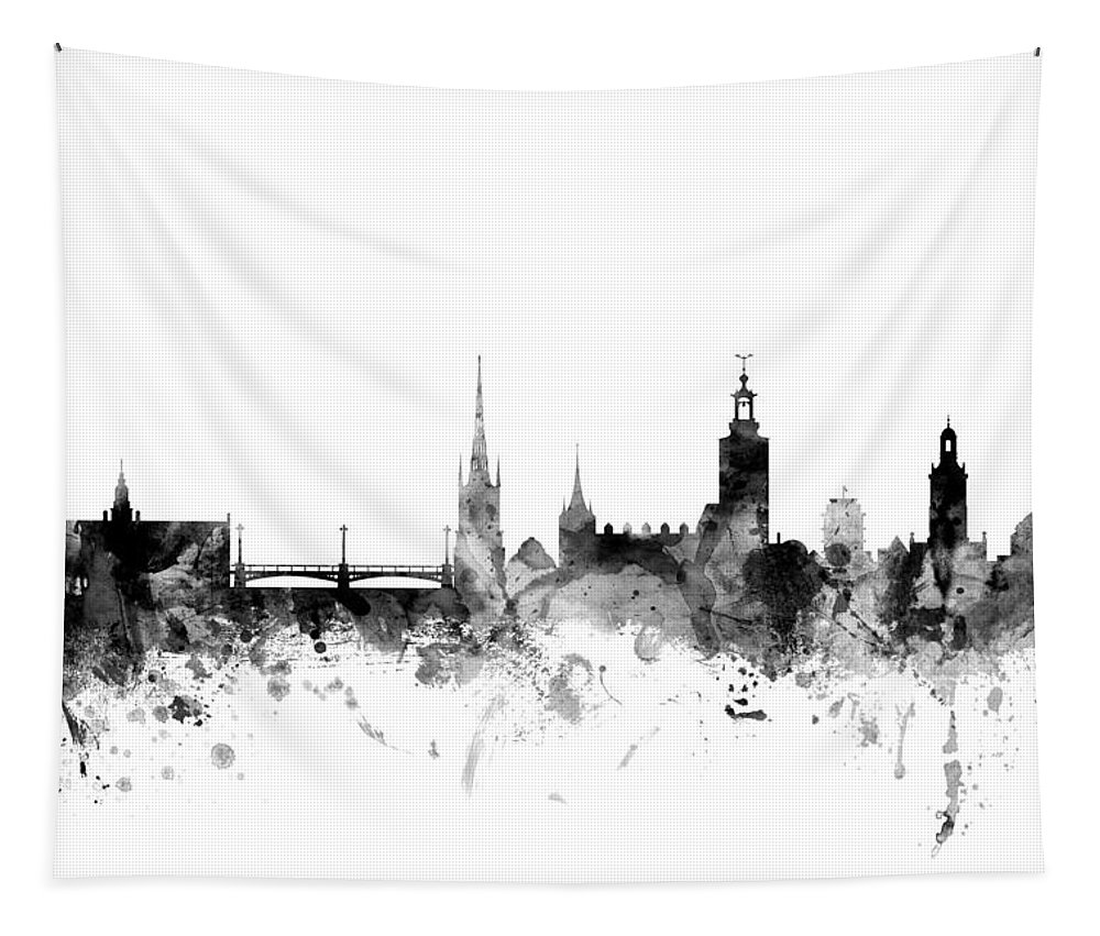 Sweden Tapestry featuring the digital art Stockholm Sweden Skyline by Michael Tompsett