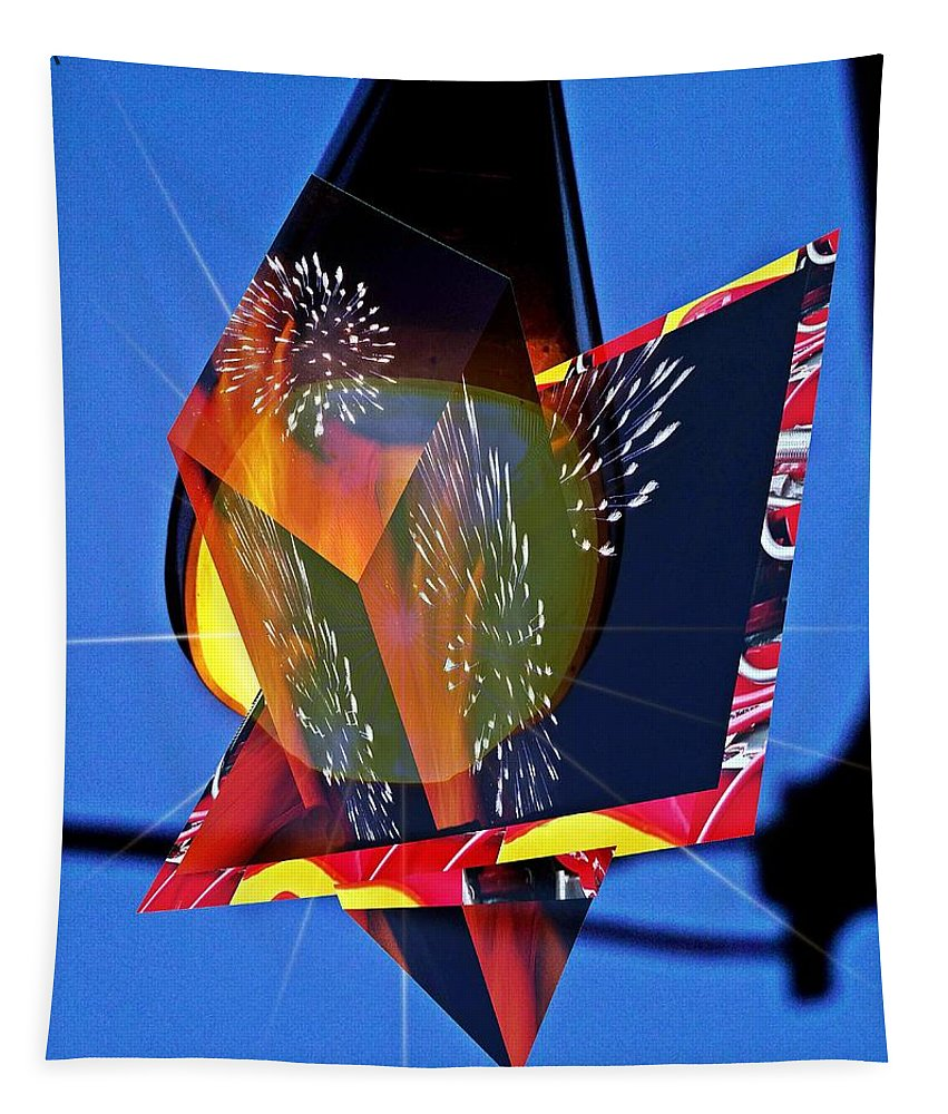 Street Tapestry featuring the digital art Street Light And Fireworks As Art by Karl Rose