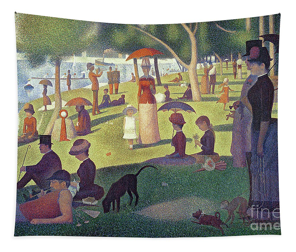 Sunday Afternoon On The Island Of La Grande Jatte Tapestry featuring the painting Sunday Afternoon on the Island of La Grande Jatte by Georges Pierre Seurat