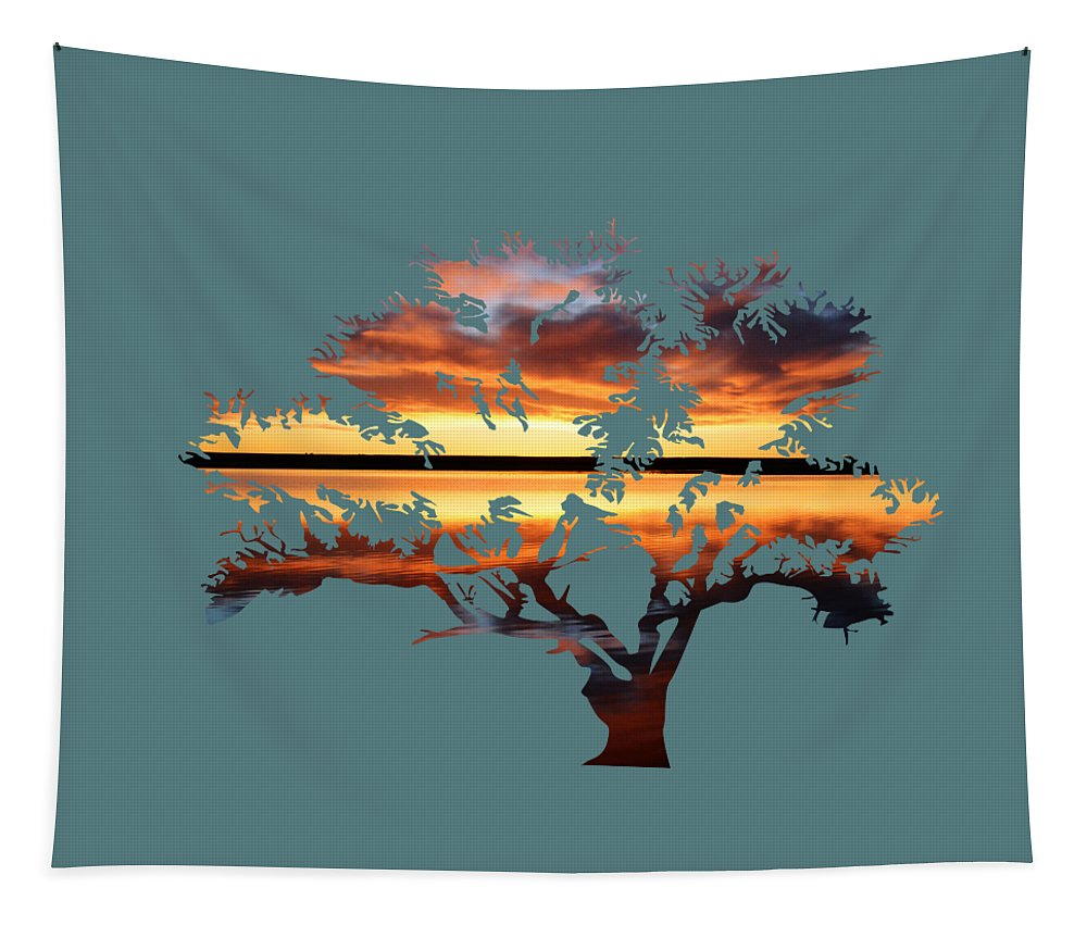 Sunrise Tapestry featuring the photograph Sunrise Tree by Whispering Peaks Photography