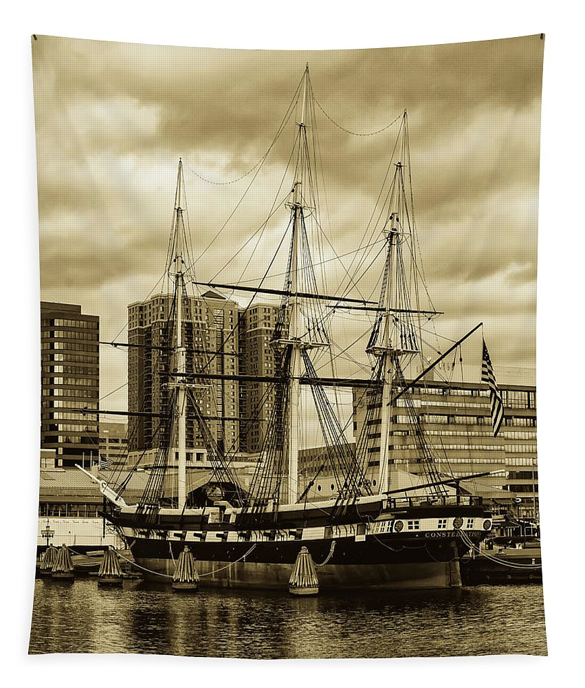 Tall Ship Tapestry featuring the photograph Tall Ship In Baltimore Harbor by Pixabay