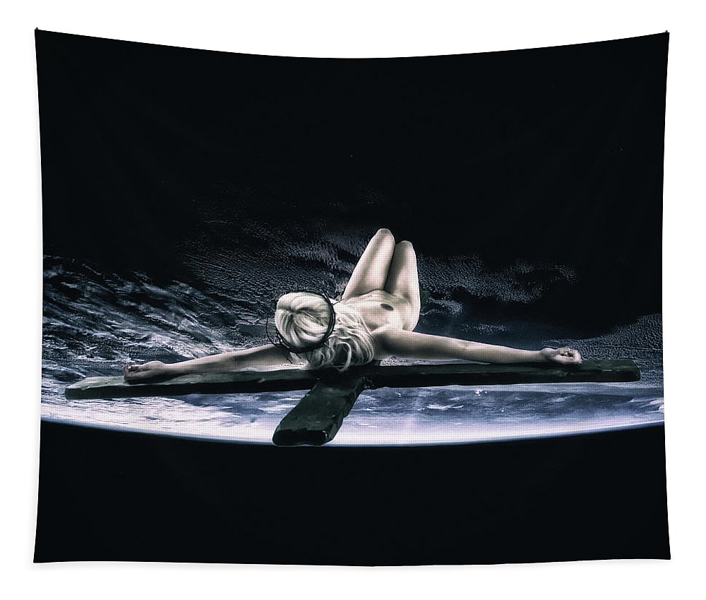 Tellus Tapestry featuring the photograph Tellus Crucifix V by Ramon Martinez