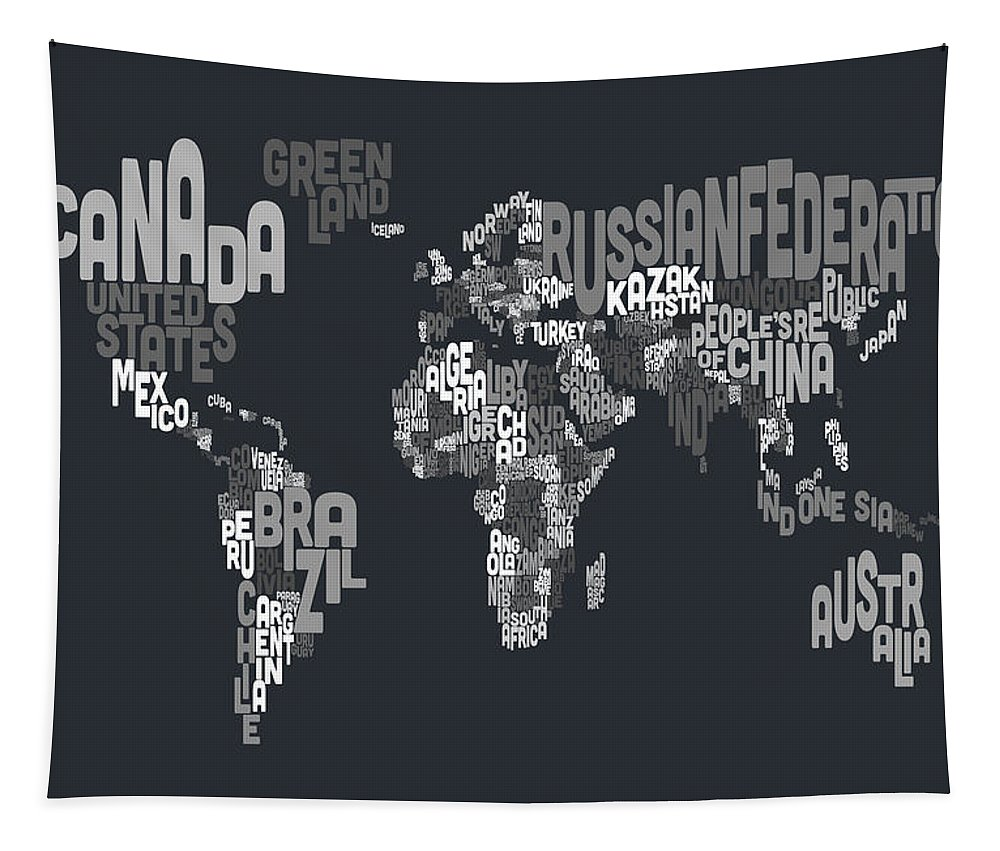 Map Of The World Tapestry featuring the digital art Text Map Of The World by Michael Tompsett