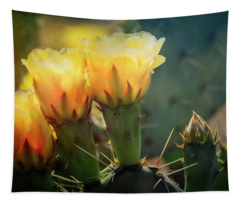 Golden Prickly Pear Cactus Tapestry featuring the photograph That Golden Glow by Saija Lehtonen
