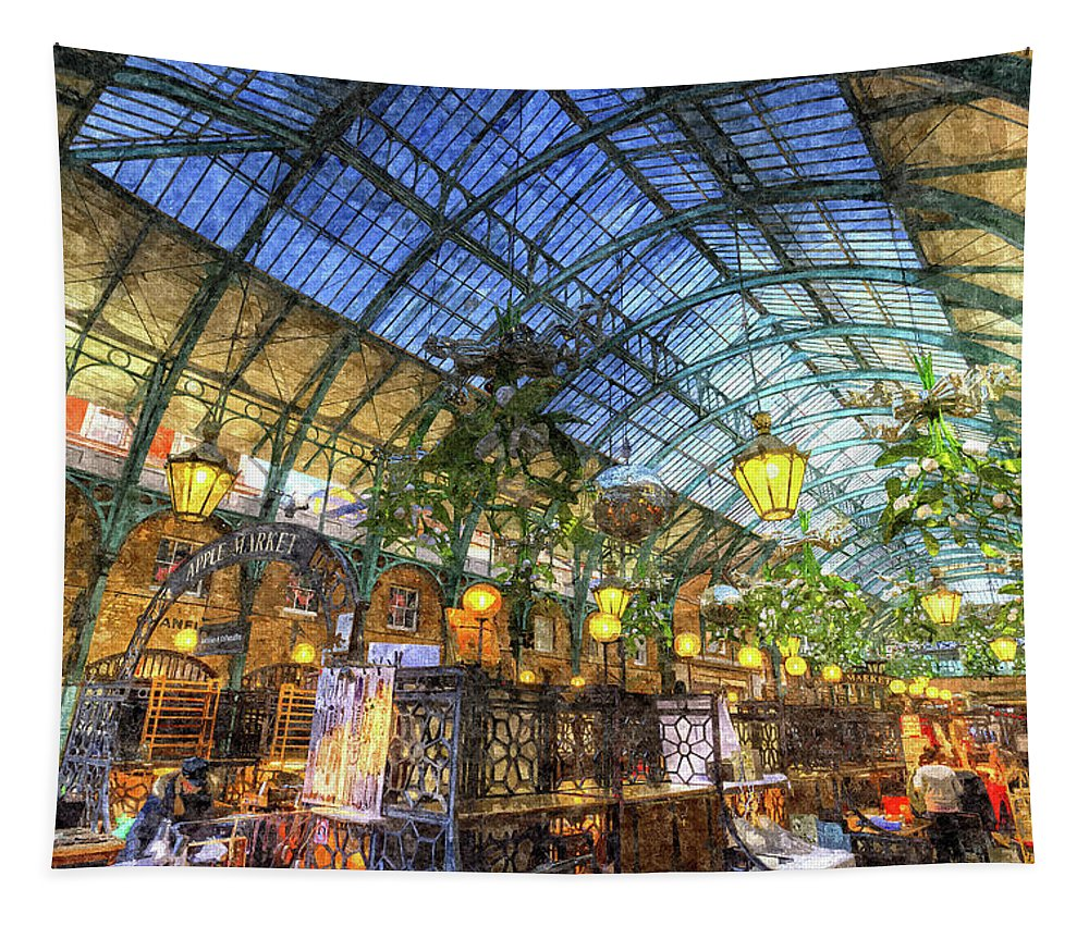 Covent Garden Tapestry featuring the photograph The Apple Market Covent Garden London Art by David Pyatt
